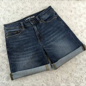 Lands' End | Mid Rise Roll Cuff Jean Shorts